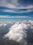 Bird's-eye view of blue sky clouds. With Background city, Thailand Stock Image