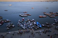 Boats in river ganges in Varanasi royalty free stock photos