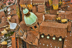 Bird`s eye view of Bologna stock images