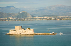 Bird's-eye view of Bourtzi fortress in Nafplion Royalty Free Stock Photo