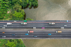 Bird's eye view of bridge Royalty Free Stock Images