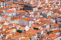 Bird`s-eye view on buildings red tiled roofs of Nazare town. Por Stock Image