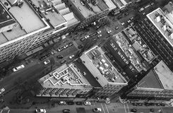 Bird`s eye view of a bustling city neighbourhood. royalty free stock images