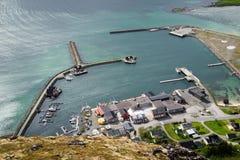 Bird's-eye view on a camping, Lofoten Islands Stock Photos