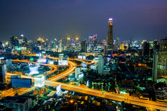 Bird`s-eye view of the capital of Thailand at night. Royalty Free Stock Photo