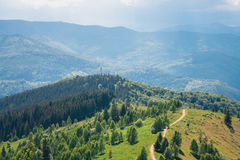 Bird`s eye view of Carpathian mountains Stock Images