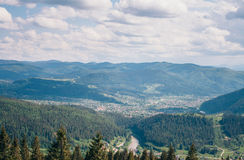 Bird`s eye view of Carpathian mountains Royalty Free Stock Photography