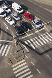 Bird`s eye view of cars waiting before crosswalk intersection on March 3, 2017 in Prague, Czech republic Stock Photos