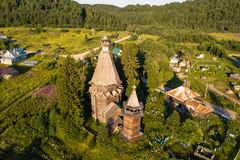Bird`s eye view of the Church of St. Nicholas built 1696 in Soginicy village, Podporozhysky district. Royalty Free Stock Photos