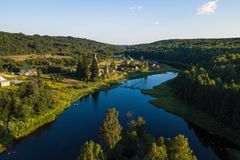 Bird`s eye view of the Church of St. Nicholas built 1696 in Soginicy village, Podporozhysky district. Stock Photo