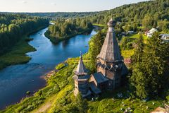 Bird`s eye view of the Church of St. Nicholas built 1696 in Soginicy village and Vazhinka river, Podporozhysky district. Royalty Free Stock Photos
