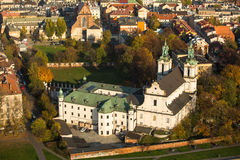 Bird's-eye view of Church St.Stanislaus Bishop in Krakow Royalty Free Stock Photography