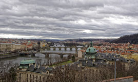 A bird`s eye view of a city in Czech republic. A bird`s eye view showing the bridges and various structures in a city of Czech Republic Royalty Free Stock Photo