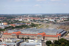 Bird`s eye view of the city of Leipzig Royalty Free Stock Images