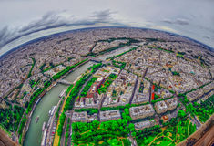 Bird's eye view of the city of Paris ,France Royalty Free Stock Photo