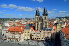 Bird`s eye view of the city of Prague and Church of Our Lady before Týn