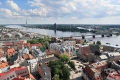 Birds eye view of city and Daugava river, Riga - Latvia Royalty Free Stock Image