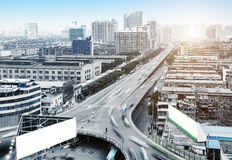 A bird`s-eye view of the city`s viaduct Royalty Free Stock Photo