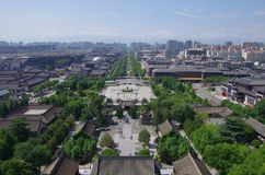 A bird`s eye view of the city of xi `an.