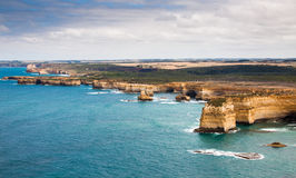 Bird's-eye view of coast in Port Campbell National Park royalty free stock photo