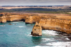Bird's-eye view of coast in Port Campbell National Park stock images