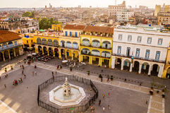 Bird`s eye view of colorful Plaza Vieja in Havana. View of Plaza Vieja in Havana, Cuba from above with colorful colonial buildings Stock Photos