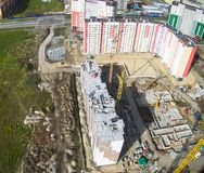 Bird's eye view on construction site in Tyumen Stock Photography