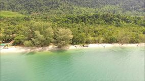 Bird`s eye view of the deep green forest and emerald green sea, east coast of Thailand stock video