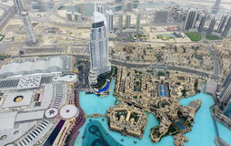 Bird's eye view of Dubai urban scene Royalty Free Stock Images