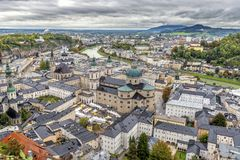 The bird& x27;s eye view of Salzburg. The bird& x27;s eye view of the famous Salzburg in Austria Royalty Free Stock Image