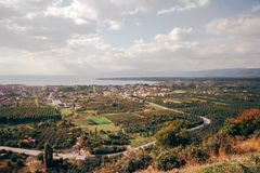 A Bird`s Eye View of Fields with Trees in iznik. A bird`s eye view of fields with olive and other trees in iznik, Turkey royalty free stock photos