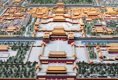 Bird's-eye view of forbidden city. Great royal palace Royalty Free Stock Image