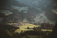Bird's Eye View of Forest and Mountain royalty free stock images