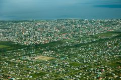 Bird`s-eye view of Georgetown city, taken from an airplane, Guyana. stock photos