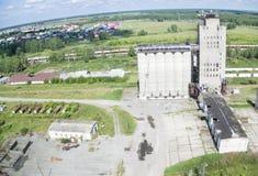Bird's eye view on grain elevator Royalty Free Stock Photography