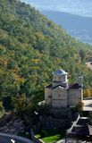 High mountain church, monastery, Ostrog, Montenegro royalty free stock photography