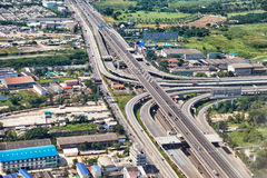 Bird's-eye view on highway in Bangkok vicinity Royalty Free Stock Photo