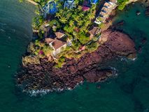 Bird's-eye View of House Near Body of Water Stock Photography