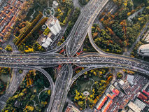 Bird's Eye View of Intersection and Overpasses during Daytime Stock Photo