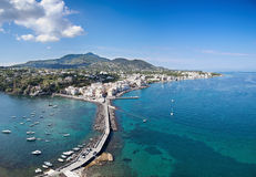 Birds eye view of Ischia Ponte, Ischia island - Italy Royalty Free Stock Photos