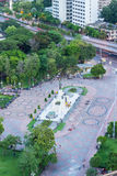 Bird`s Eye View of King Rama VI Monument at the gate to Lumpini Park,Rama V Road,Lumphini,Pathumwan,Bangkok,Thailand. King Rama VI. King Rama VI Monument is royalty free stock images