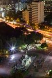 Bird`s Eye View of King Rama VI Monument at the gate to Lumpini Park,Rama V Road.,Lumphini,Pathumwan,Bangkok,Thailand at night. King Rama VI Monument is located royalty free stock photography