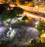 Bird`s Eye View of King Rama VI Monument at the gate to Lumpini Park,Rama V Road.,Lumphini,Pathumwan,Bangkok,Thailand at night. King Rama VI Monument is located stock photos