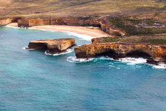 Bird's-eye view of London Bridge in Port Campbell National Park stock photography