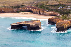 Bird's-eye view of London Bridge in Port Campbell National Park royalty free stock photos