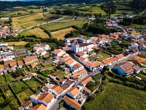Bird`s eye view of the Maia city on San Miguel island. Bird`s eye view of the Maia city on San Miguel island, Azores, Portugal royalty free stock images