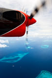 Bird's-eye view of maldives atolls. Shoot on the seaplane Royalty Free Stock Images