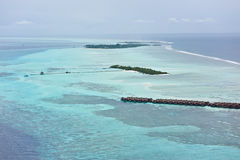 Bird's-eye view of maldives resorts Stock Photos