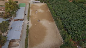Bird`s-eye view on the manege for horses stock video footage