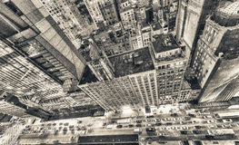 Bird's eye view of Manhattan skyscrapers. Top Down photo with st Stock Images